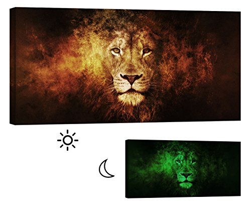 LightFairy Glow in the Dark Canvas Painting - Stretched and Framed Giclee Wall Art Print - Tiger Leopard Lion Head on Fire - Master Bedroom Living Room Decor - 6 Hours Glow - 46 x 24 Inch