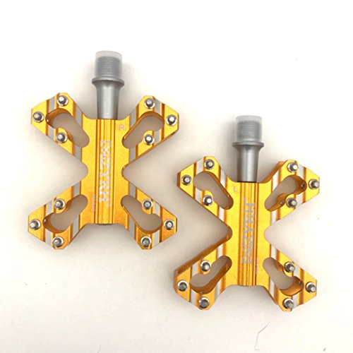 (M&Z Eveter Ultraleicht Mountain Bike Pedal Platform Cycling Sealed Bearing Alloy Flat Pedals 503 (Gold))