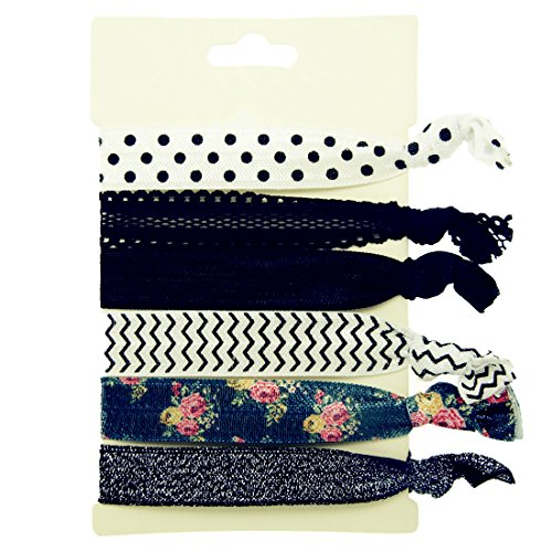 Hair Ties Elastics Ouchless No Crease (Polka, Chevron, Floral, Lace & Glitter) - 6 Pack