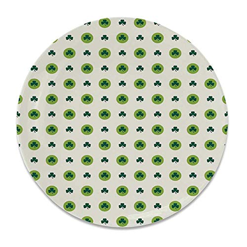 - YOLIYANA Floral Ceramic Decorative Plate,Clover Flowers Green Dots Cultural Irish St. Patricks Day Pattern for Home Décor,8 inch