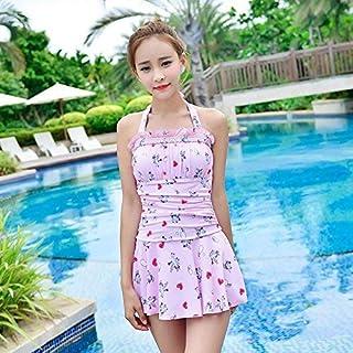 ZHRUI Siamese Twin Swim Wear Costume da Bagno Beach Romantic Stamp Female Tendative Trend in Estate, Pink, M (Colore : Come Mostrato, Dimensione : Taglia Unica)