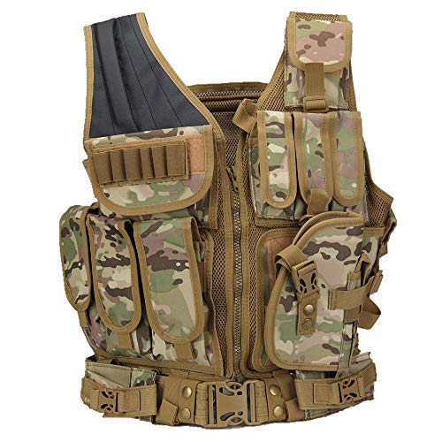 Girth Detachable Ring (Hotsung Tactical Vest for Combat Training, Field Operations and Special Missions - Lightweight Breathable Vest, Adjustable Sizes, Unisex, 600D Assault Gear (Camouflage))