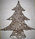 Country Glittered Burlap and Miniature Pinecone Christmas Tree 20 In