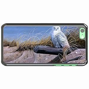 iPhone 5C Black Hardshell Case art owl sand logs dry grass Desin Images Protector Back Cover