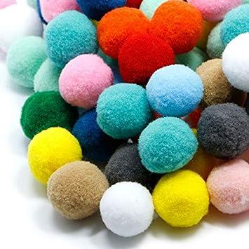 100pcs Assorted Colorful Fluffy Pom Poms Pompoms Balls DIY Decoration 30mm
