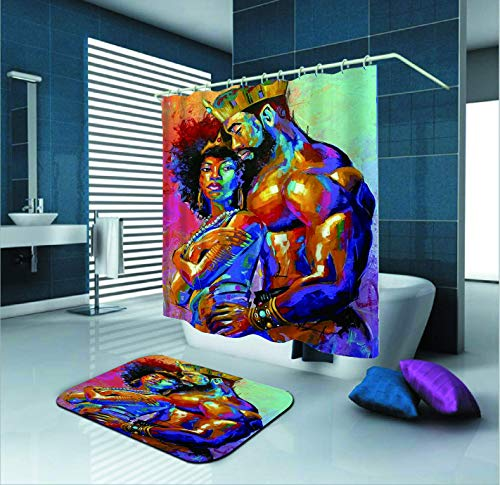 SARA NELL Shower Curtain,African American Lover Couple King&Queen Oil Painting,72X72in Mildew Resistant Polyester Fabric Shower Curtain Set with 15.7x23.6in Flannel Non-Slip Floor Doormat Bath Rugs