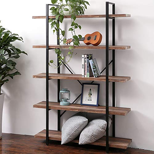 SUPERJARE 5-Shelf Industrial Bookshelf, Open Etagere Bookcase with Metal Frame, Rustic Book Shelf, Storage Display Shelves, Wood Grain - Brown