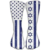 JIAGUWEN Mens.woman Hanukkah Jewish U.S.A. And Israel Flag Premium Quality High Athletic Crew Sock Socks Athletic Socks Sports Outdoor One Size