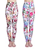 IRELIA Girls Leggings 2 Pack Printing Flower Stretchy for Spring/Fall 05 L