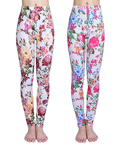 IRELIA Girls Leggings 2 Pack Printing Flower Stretchy for Spring/Fall 05 S -