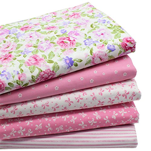iNee Pink Fat Quarters Quilting Fabric Bundles for Quilting Sewing Crafting,18'' x 22'' by iNee
