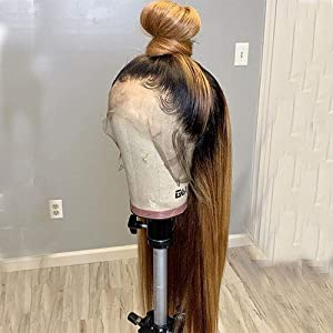 1B/27 Ombre Color Lace Front Wigs Human Hair for Women Bleached Knots Straight Brazilian Remy Hair Wigs With Baby Hairs…