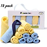 """Baby Towel Baby Washcloths Organic Cotton (12 Pack) Soft & Absorbent for Sensitive Skin 8.5""""x8.5"""" Wipes - Bath Towel and Newborn Registry Gift"""