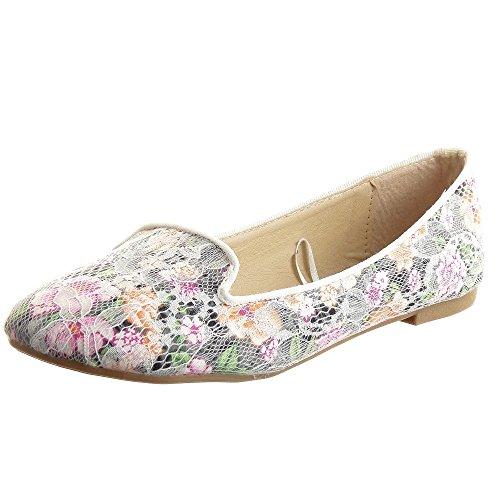 Sopily - Scarpe da Moda ballerina alla caviglia donna fishnet fiori Tacco a blocco 1 CM - Bianco