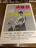 Sorority Girl vintage movie poster, bad girl with paddle, 1957, Susan Cabot, Dick Miller
