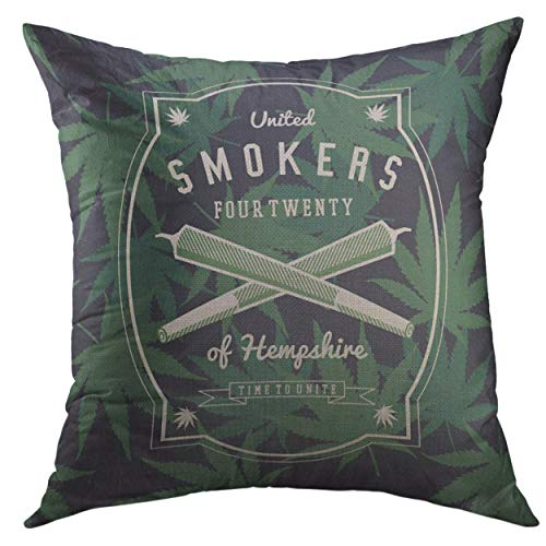 Mugod Decorative Throw Pillow Cover Colorful Smoke Marijuana Weed Ganja Smoker Green Label Home Decor Pillow Case 18×18 inch