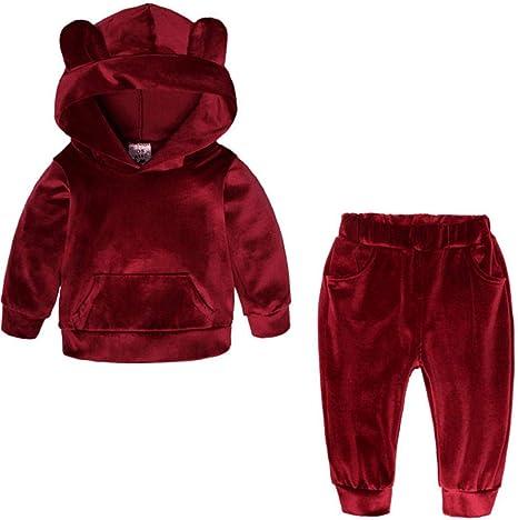 pryitponm8 Conjunto Deportivo niña/niño Ropa suéter Lana niños Sudadera con Capucha Chaqueta bebé Casual algodón Abrigo niños Camisa de Manga Larga -80_ Oreja roja_: Amazon.es: Hogar