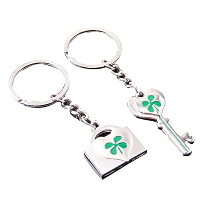 2 piezas de cuatro hojas llavero LUOEM trébol afortunado fortuna llavero trébol brillante encanto llavero St.Patrick regalo del día: Ropa y accesorios