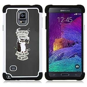 For Samsung Galaxy Note 4 SM-N910 N910 - Fail Better Learn Owl Inspiring Quote Poster /[Hybrid 3 en 1 Impacto resistente a prueba de golpes de protecci????n] de silicona y pl????stico Def/ - Super Marley