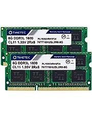 Timetec 16GB KIT(2x8GB) DDR3L / DDR3 1600MHz PC3L-12800 / PC3-12800 Non-ECC Unbuffered 1.35V / 1.5V CL11 2Rx8 Dual Rank 204 Pin SODIMM Laptop Notebook PC Computer Memory RAM Module Upgrade