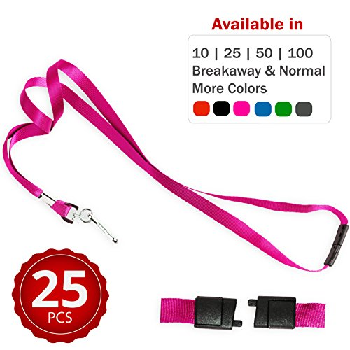 Durably Woven Lanyards with Safety Breakaway ~Premium Quality, Smoothly Finished for Skin-Friendly Comfort~ for Moms, Teachers, Tours, Events, Cruises & More (25 Pack, Pink) by Stationery King ()