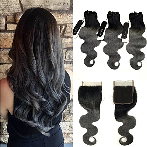 BQ HAIR Dark Root Ombre Grey Brazilian Wave Human Hair 3 Bundles with 4x4 Free Part Swiss Lace Closure - 100% Brazilian Virgin Raw Human Hair Weave Extensions(16
