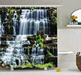 Rainforest Shower Curtain Rainforest Decorations Shower Curtain Set by Ambesonne, Waterfall in the Middle of Tropical Jungle Natural Scenery Countryside Style, Bathroom Accessories, 84 Inches Extralong, Green White
