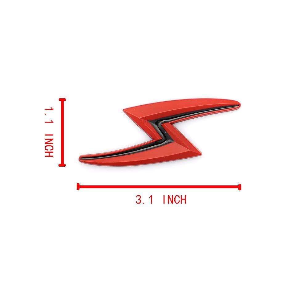 New 2x S Lightning Car Emblem For JDM Styling Hood Trunk Lid Metal Logo Badge Sticker Black