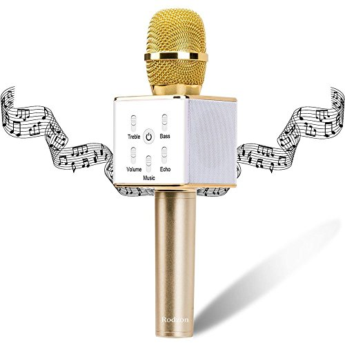 Wireless Karaoke Microphone, Rodzon Portable 3-in-1 Handled Multi-function Bluetooth Microphone and Built-in Speaker for Cellphone, PC and Smart Devices (Gold)