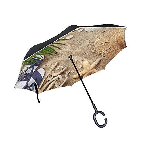 ALAZA Summer Beach Palm Tree Leaves Starfish Seashell Inverted Umbrella, Large Double Layer Outdoor Rain Sun Car Reversible Umbrella