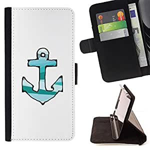 """For Samsung Galaxy S6 Edge Plus / S6 Edge+ G928,S-type Las líneas dibujadas Verde Teal blanco de anclaje"""" - Dibujo PU billetera de cuero Funda Case Caso de la piel de la bolsa protectora"""
