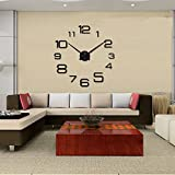 Daao Large Size Fashion Wall Sticker Wall Clock, Diy Clock , Black