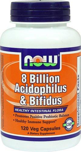 NOW Foods acidophilus / bifidus 8 milliards-120 Capsules