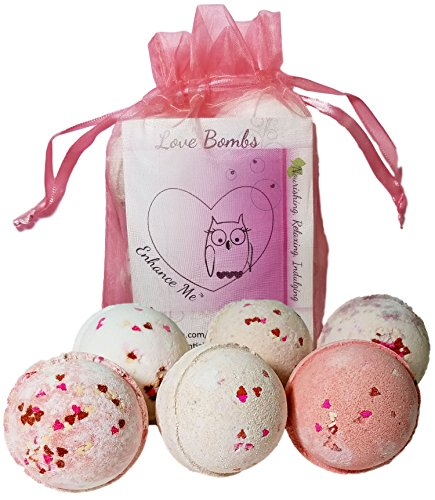 Love & Hearts Mother's Day Gift Set 6 Bath Bombs from Enhance Me, Handmade with Organic Palm Oil, (Cheap Bubble Bath Gift Set)