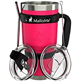 MalloMe Stainless Steel Vacuum Insulated 6-Piece Tumbler Set, Hot Pink 30 oz