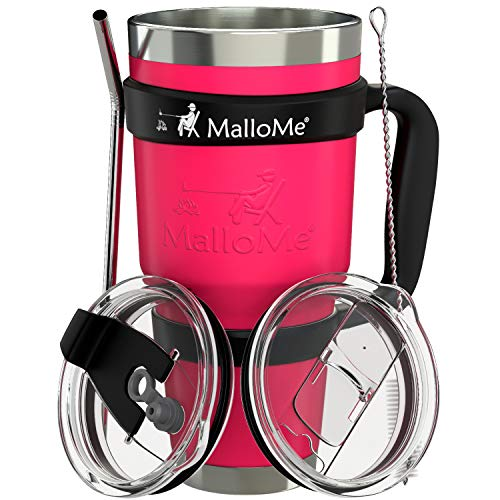 MalloMe Stainless Steel Vacuum Insulated 6-Piece Tumbler Set, Hot Pink 30 oz ()