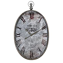 Intelligent Design Oval Pocket Watch Wall Clock | Antiqued Distressed Silver