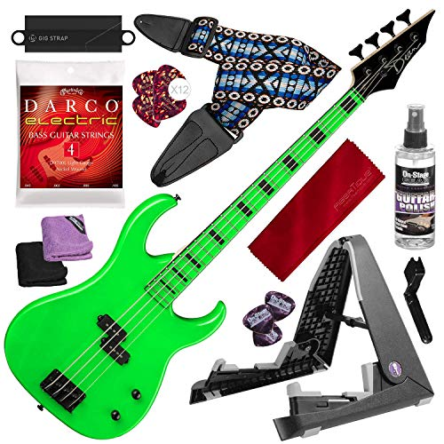 (Dean Custom Zone Electric Bass Guitar, Nuclear Green with Deluxe Accessory Bundle )
