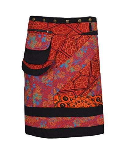 Rouge Mini Button Print coton Jupe Floral femmes en jupe pour Warp Button xwSOqPRA
