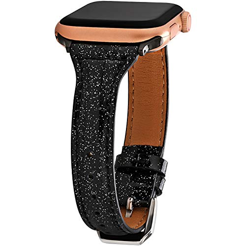 Greaciary Sparkle Leather Band Compatible with Apple Watch 38mm/40mm,Extreme Deluxe Shiny Bling Glitter Wristband Compatible with Apple Watch Series4/3/2/1,Sports & Edition,Shiny Black