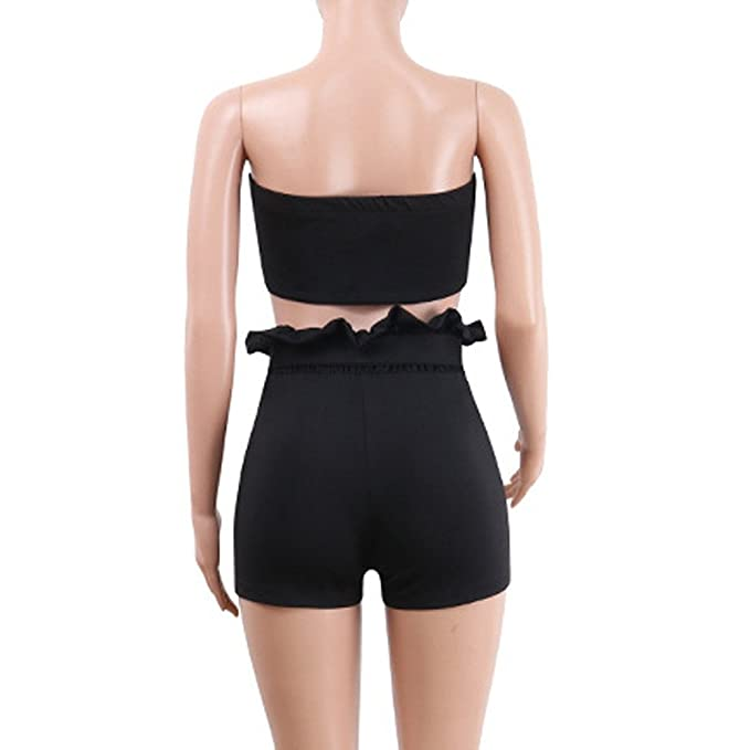 d66a988e9cff Amazon.com  Womens Sexy 2 Piece Outfits Bodycon Print Sleeveless Tube Top  and Hot Shorts Set Romper Crop Bandeau Top  Clothing