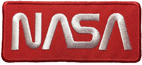 Nasa Space Shuttle Vector Discovery Agency Houston USA Embroidered Appliques Hat Cap Polo Backpack Clothing Jacket Shirt DIY Sewing Iron On Costume Badge Logo Patch By Thai Vintage (Red White)