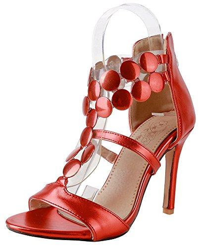 Aisun Sandales Rouge Fille Femme Mode Eclair Stiletto Fermeture Stable P70nBP