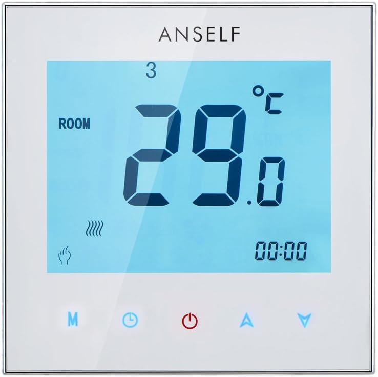 Anself - Termostato controlador de temperatura a 3 A, 110–230 V, programable semanal con pantalla LCD táctil para agua, calefacción