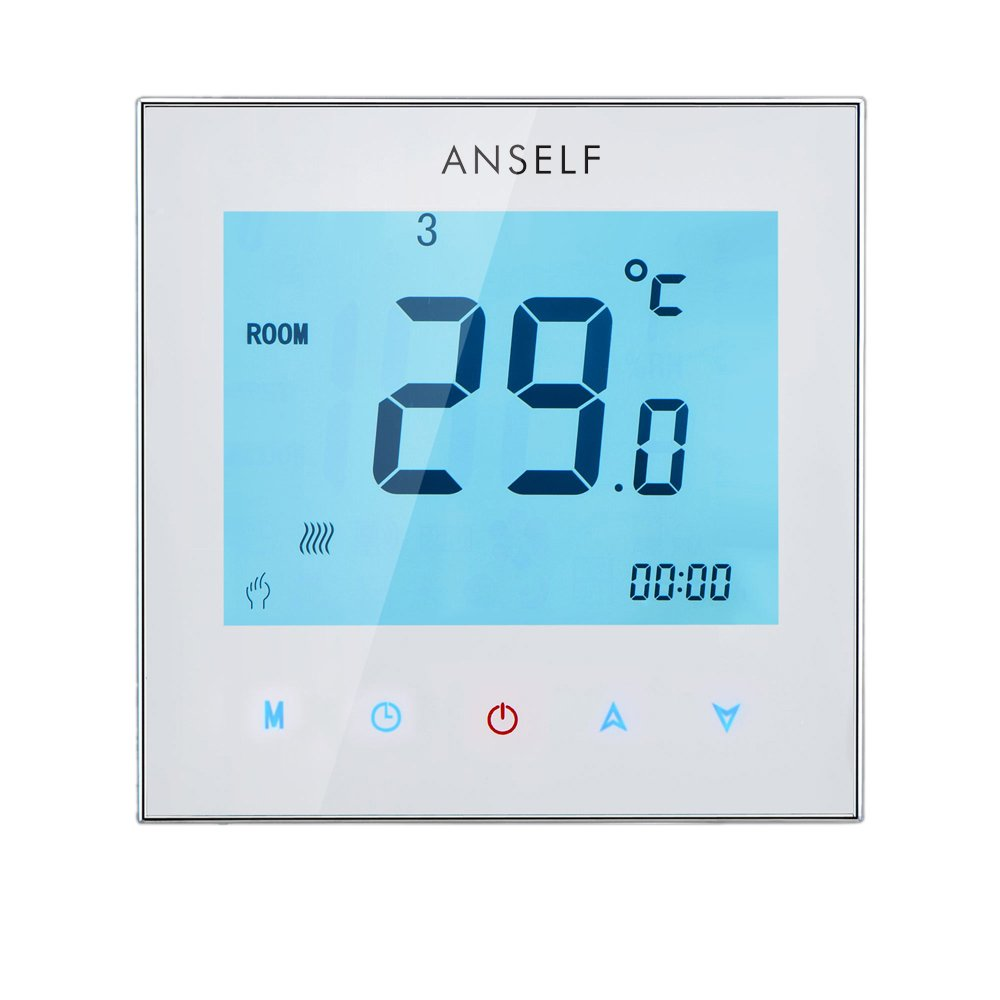 Anself Programmable LCD Room Thermostat,3A 110-240V Touch Screen Water Heating Temperature Controller