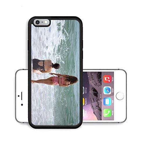 Liili Premium Apple iPhone 6 Plus iPhone 6S Plus Aluminum Backplate Bumper Snap Case Image ID 23308623 Two young girls in bathing suits on seaside beach looking out onto blue sea and white shore ()