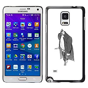 Plastic Shell Protective Case Cover    Samsung Galaxy Note 4 SM-N910    Man Big Grey Pencil Art Drawing Wanderer @XPTECH