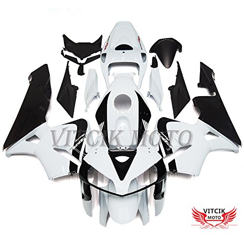 Fit for Honda CBR600RR F5 2005 2006 CBR600 RR F5 05 06) Plastic ABS Injection Mold Complete Motorcycle Body Aftermarket Bodywork Frame (White & Black) A082 ()