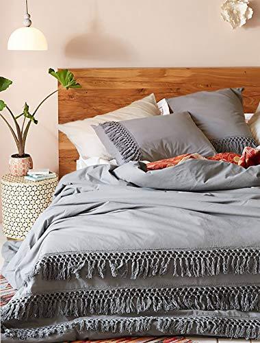 Flber Grey Duvet Cover Queen Comforter Cotton Tassel Quilt Cover Boho Bedding (Gray ()