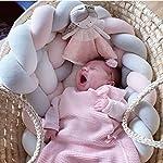 Soft-Pad-Baby-Braided-Crib-Bumper-Knotted-Plush-Protective-Decorative-Nursery-Gift-Pillow-for-Newborns-Bed-Sleep-Bumper-Safe-forToddlerNewborn-157-inch4mGreyWhitePink